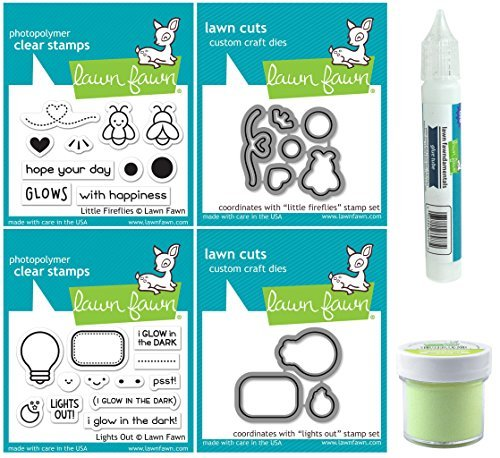 Lawn Fawn - Glow-In-the-Dark Embossing Powder, Glue Tube, Lights Out and Fireflies Stamp & Die Sets - 6 Items by Lawn Fawn