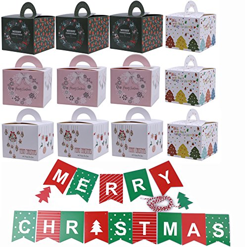 About Apples Gift Box (Shapenty 12 Pack Christmas Apple Fruit Candy Box Gift Packaging Favor Boxes Set with Merry Christmas Card Banners for Festival Holiday Party Decoration)