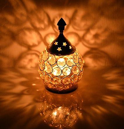 Collectible India Crystal Akhand Diya Decorative Brass Oil Lamp Tea Light Holder Lantern Oval Shape Pooja Gifts Home Decor(Oval Small)
