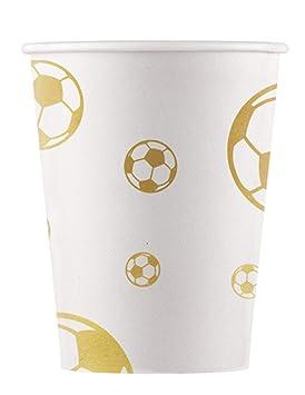 Juego de 8 vasos de cartón blanco con balón de fútbol dorado ...