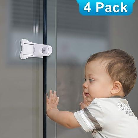 Paquete de 4 cerraduras de puerta correderas para seguridad del ...