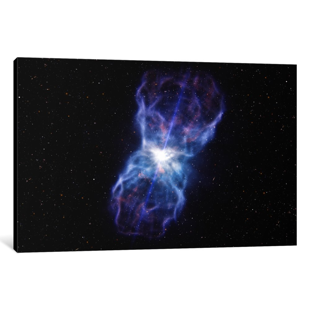 60 x 40//0.75 Depth iCanvasART 3 Piece Supermassive Black Hole-Quasar SDSS J1106 Ejected Material Canvas Print by European Southern Observatory ESO
