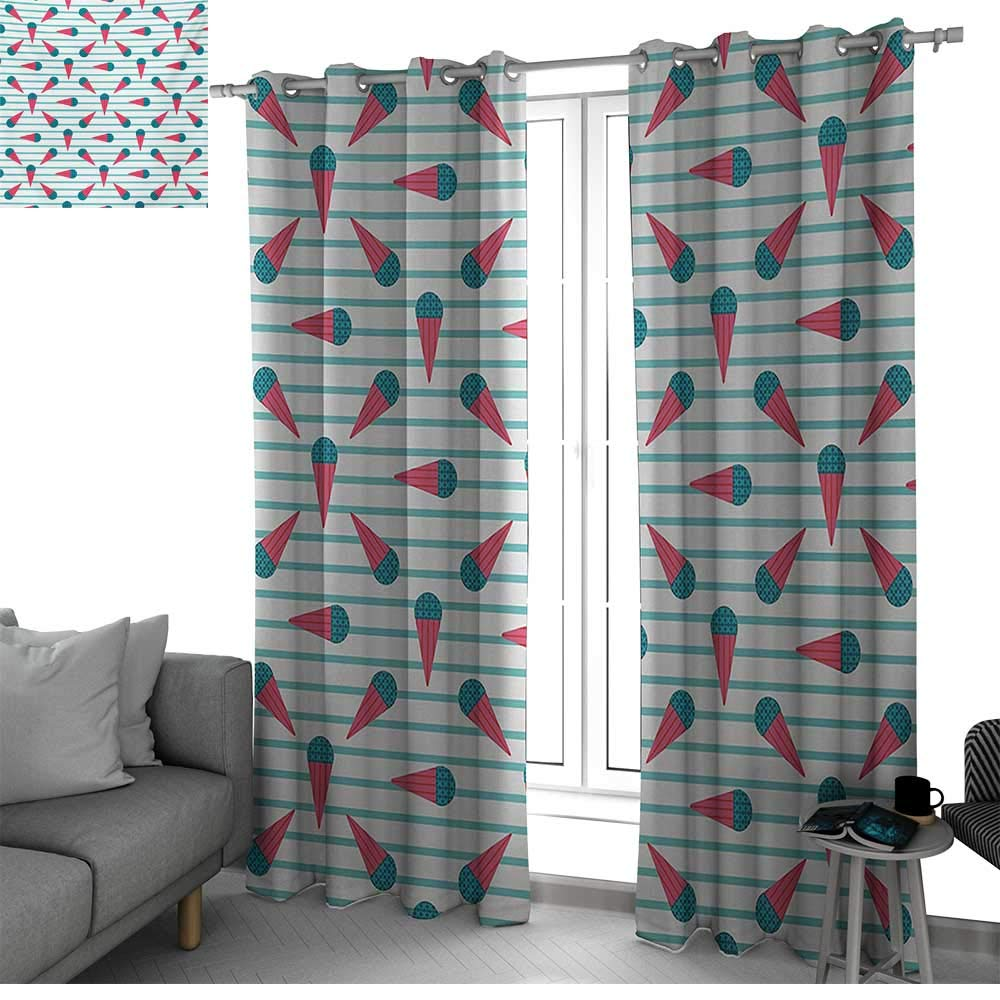 Ice Cream Best Home Fashion Wide Width Thermal Insulated Blackout Curtain Scandinavian Design Cartoon Cones with Geometrical Toppings on Stripes curtains for bedroom Seafoam Coral Teal W84 x L84 Inch