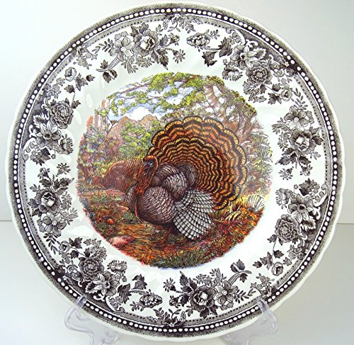 Set of 4 Queen's Majestic Beauty Turkey Thanksgiving DINNER Plates, Quintessential Game Collection -