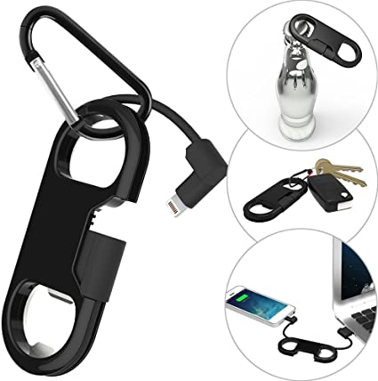 i-Dawn Compatible iPhone Charge Cable + Keychain + Bottle Opener + Aluminum Carabiner,Portable Multifunction Keychain Bottle Opener USB Charging Cord ...