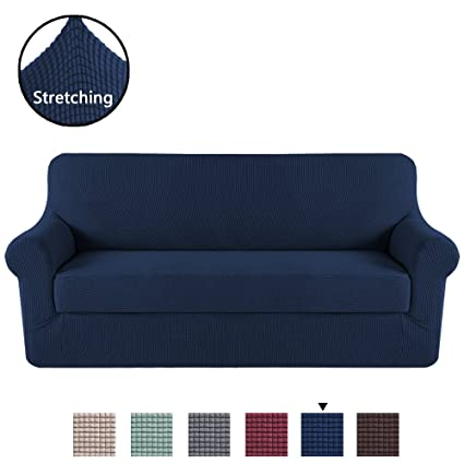 Charmant H.VERSAILTEX Durable Soft High Stretch Jacquard 2 Pieces Sofa Slipcover  Navy Couch Covers Lycra