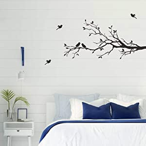 MEFOSS Black Tree Branches Wall Decals Flying Birds Wall Stickers Removable Peel and Stick Wall Sticker for Living Room Bedroom Nursery TV Background Office Wall Decor Art (A)
