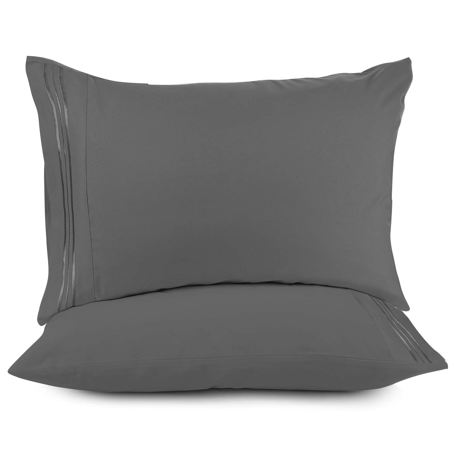 Nestl Bedding Solid Microfiber King 20 x 40 Inches Pillowcases, Charcoal Grey (Set of 2)