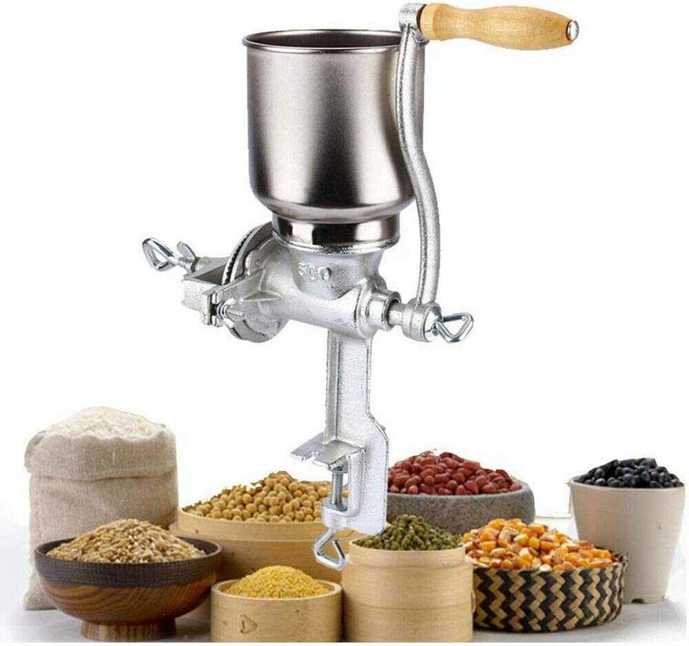 Manual Grain Grinder Operated Tall Cast Iron Grinder Grain Mill Crank Manual Corn Wheat Coffee Flour Nut Spice Crusher Home Kitchen Hand Machine Tool