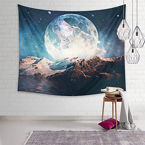 Dremisland Indian Wall Decor Hippie Tapestries Bohemian Mandala Tapestry Wall Hanging Throw (Wolf and Moon) (Wolf Mandala)