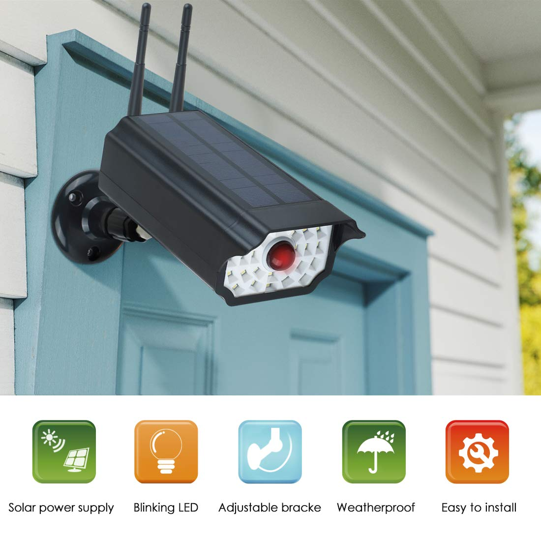 Dummy Security Camera Waterproof Realistic Solar Powerd Wireless Surveillance Fake Camera ,Solar Simulation Monitor with LED Flashing Light for Outdoor Home//Warehouse(Black)