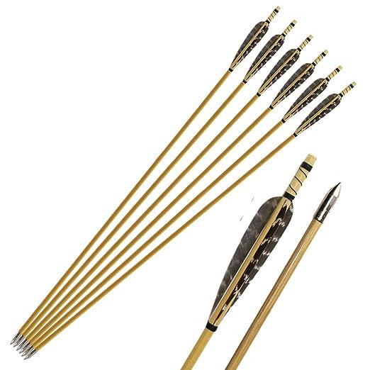 """2 opinioni per Huntingdoor 6X32"""" Handmade pura Tiro con l'arco in legno Freccia fagiano piuma"""