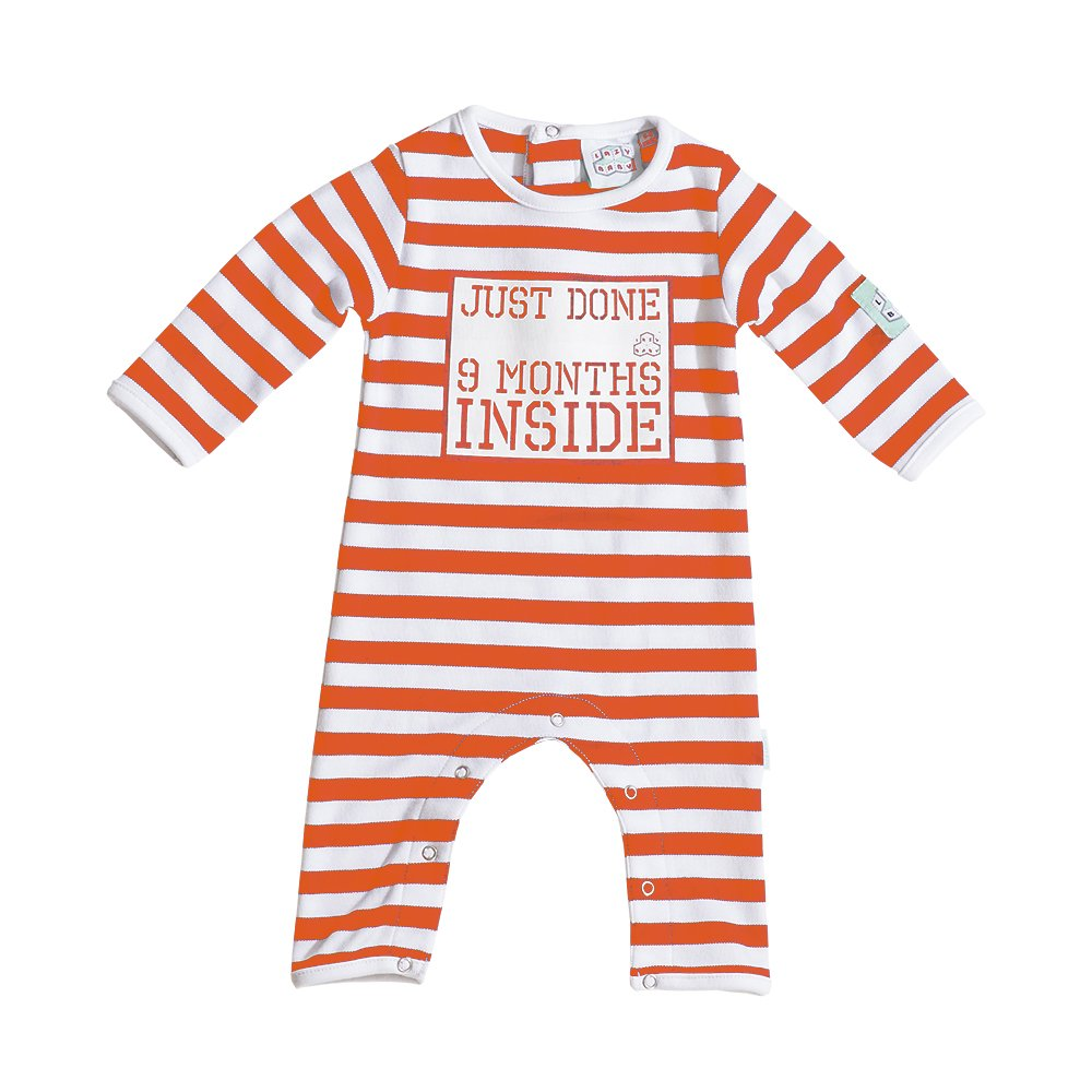 Just Done Nine Months Inside Baby Grow Orange and White