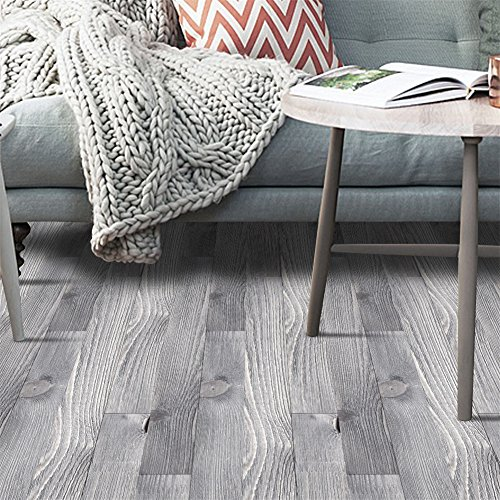 VanBest 3D Self-adhesive Flooring Stickers Simulation Wood Decals Waterproof Kitchen Bedroom Living Room PVC Creative Decoration Width 20cm Length 500cm - Pvc Flooring