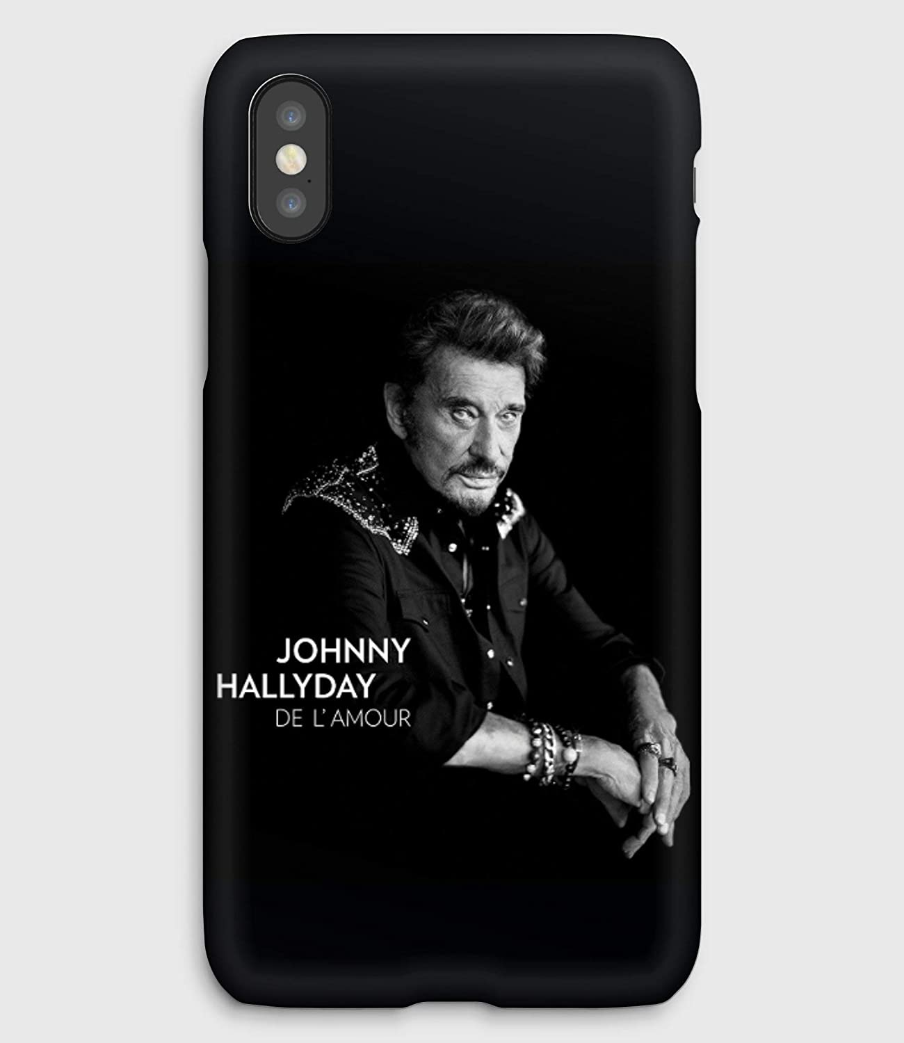 De l'amour Johnny Hallyday,coque pour iPhone XS, XS Max, XR, X, 8, 8+, 7, 7+, 6S, 6, 6S+, 6+, 5C, 5, 5S, 5SE, 4S, 4,