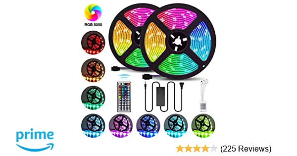 Elfeland LED Strip Lights 32 8FT/10M 300 LEDs SMD5050 RGB Strip Lights IP65  Waterproof Rope Lights Color Changing Flexible Tape Light Kit with 44 Keys