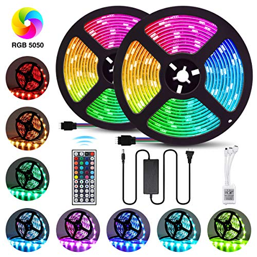 Elfeland LED Strip Lights 32.8FT/10M 300 LEDs SMD5050 RGB Strip Lights IP65 Waterproof Rope Lights Color Changing Flexible Tape Light Kit with 44 Keys IR Remote Controller & 12V 5A Power Supply (Living Holiday Led Lights)
