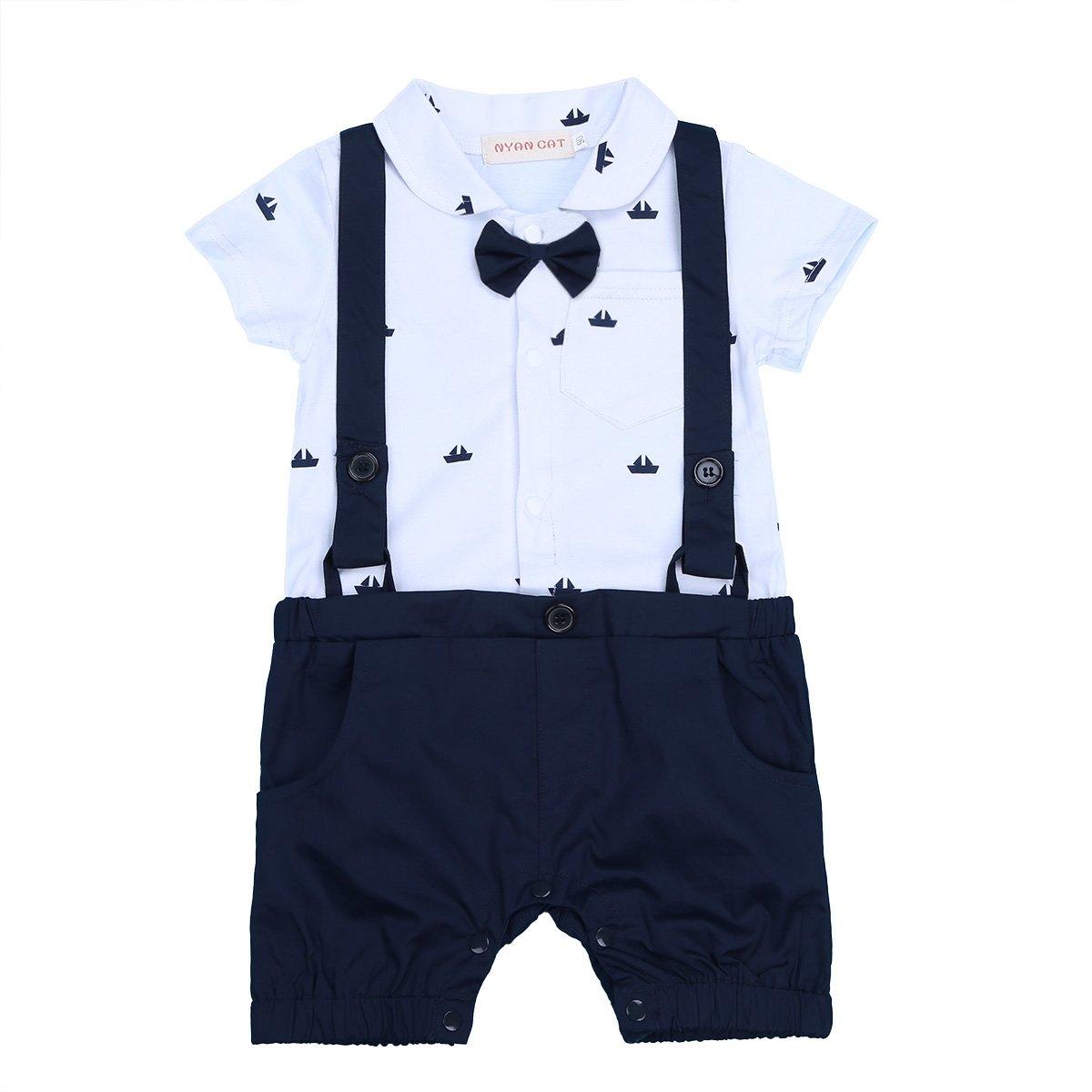 iiniim Bébé Gentleman Costume Body Romper Garçon d'honneur Mariage Impression Combinaison Barboteuse Manches Courtes Cravate à Papillon Noeud Bodysuit Coton 6-24 Mois