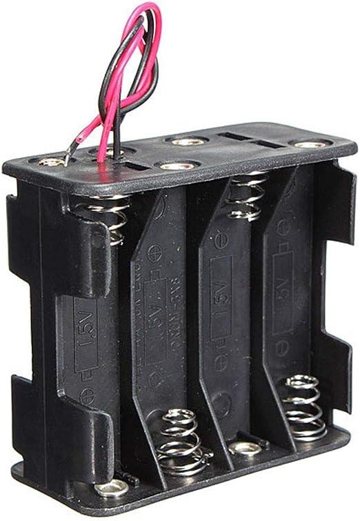 MZY1188 Soportes de batería doméstica, Caja de Soporte de batería Caliente 12 voltios 12V Clip de batería Ranura de Almacenamiento / 8 Pilas AA Pila 6 Conductores Cable: Amazon.es: Hogar