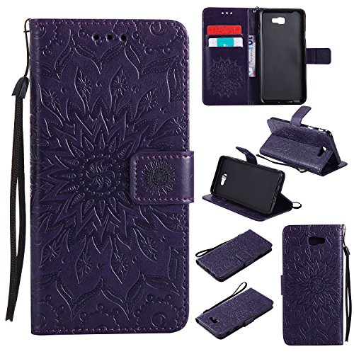 Galaxy J3 Emerge Wallet Case,A-slim Sun Pattern Embossed PU Leather Magnetic Flip Cover Card Holders Hand Strap Purse Case for Samsung Galaxy J3 2017 / J3 Prime / Amp Prime 2 / Express Prime 2 Purple
