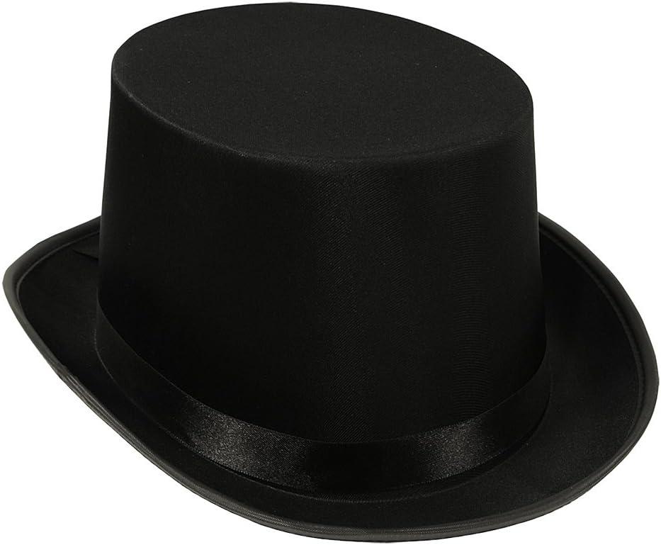 Black Sateen Top Hat Formal Wear w/Ribbon Accents