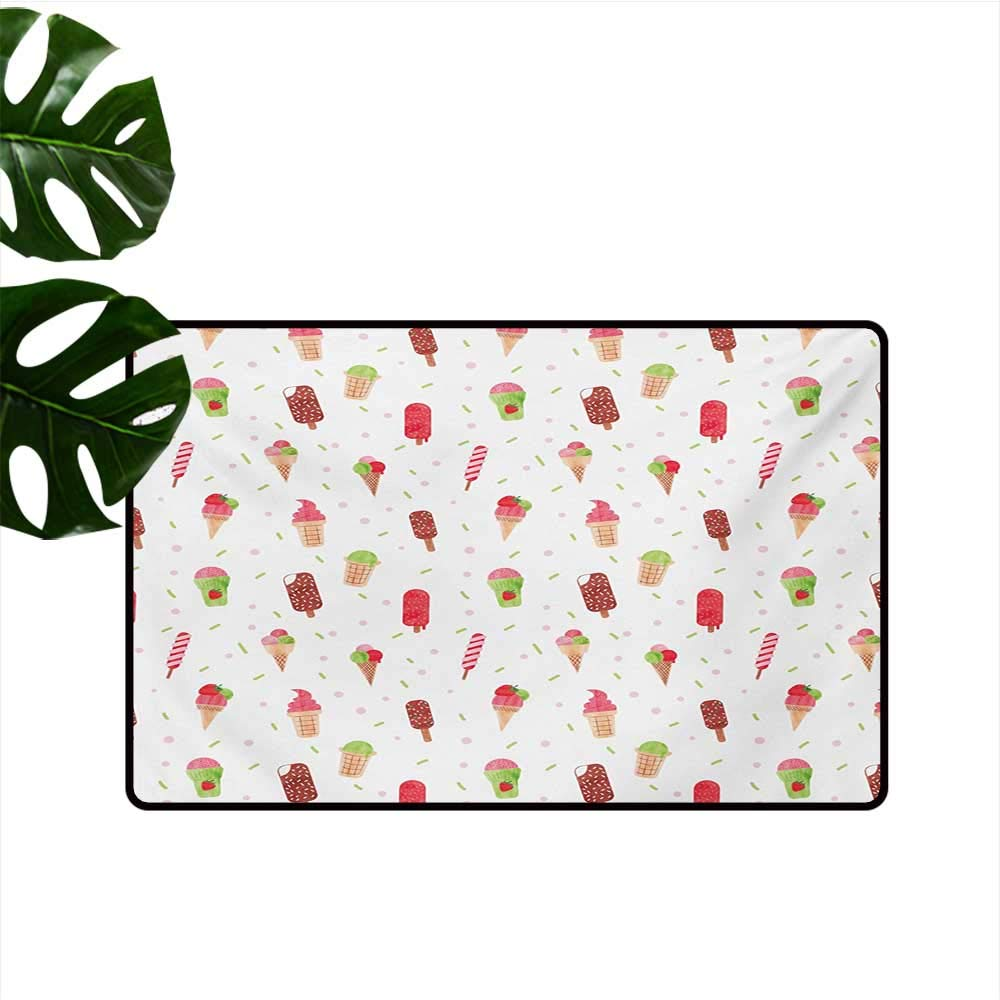 Non-Slip Floor mat,Summertime Inspired Watercolor Pattern with Yummy Dessert Ice Lolly and Cone 16''x24'',Can be Used for Floor Decoration