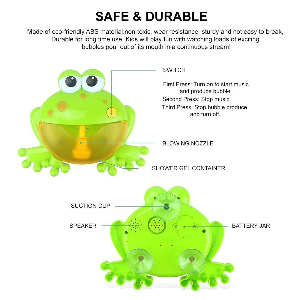 STN Ba/ño De Beb/é Burbuja Autom/ática M/áquina De Burbujas De Ba/ño para Ni/ños Frog Bubble Maker con 12 M/úsica