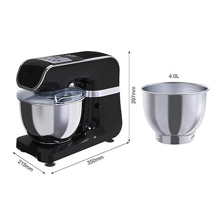 Amasadora Batidora MLITER, Robot de Cocina, 800W, Bol de 4.0L, Gancho para Masa, Batidora, Protector contra Salpicaduras, Panel de Control Digital, ...