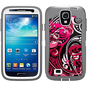 Skin Decal for Otterbox Defender Samsung Galaxy S4 Case - Abstract Red Pink Swirled on Black