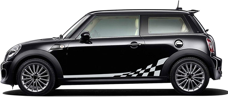 Pegatina de Rayas Laterales de Puerta Interior automotriz para Mini Cooper S One JCW R56 R57 R50 R52 R53 F55 F56 F57 Accesorios de calcoman/ía de Cuerpo de Falda a Cuadros