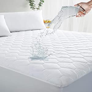 "MASVIS Queen Waterproof Mattress Pad Cover Stretches up 8-21"" Deep Pocket - Hypoallergenic Fitted Quilted Cooling Mattress Protector"