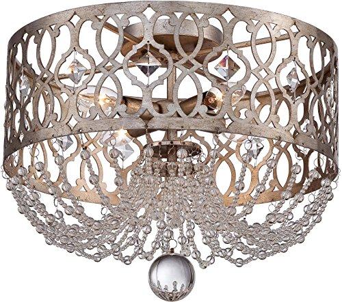(Minka Lavery Semi Flush Mount Crystal Ceiling Light 4847-276 Lucero Lighting Fixture, 4-Light 240 Watts, Florentine Silver)
