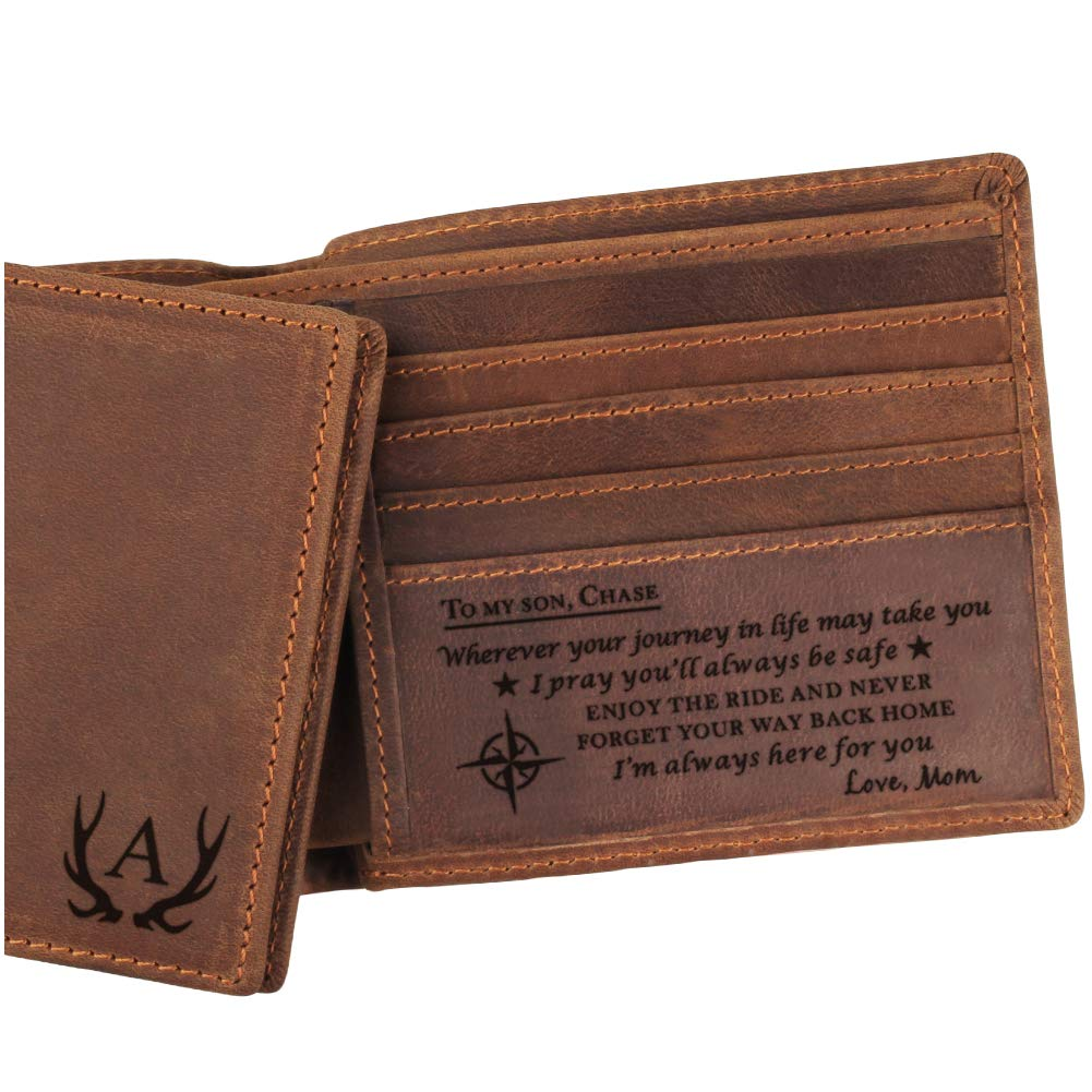 Engraved Leather Wallet, Personalized Gifts for Son, Custom wallet, Birthday, Graduation Gift from Mom or Dad
