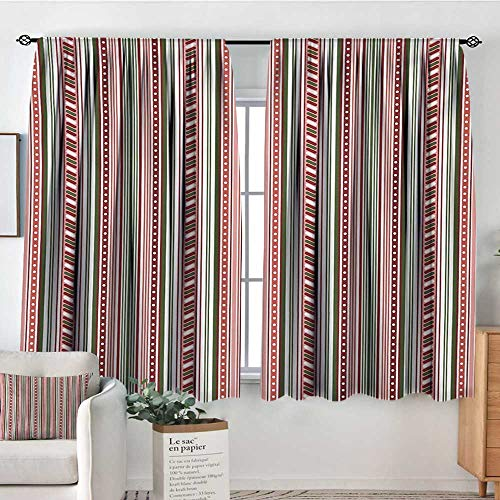 HOMEDECORATIONS Abstract Custom Curtains Vertical Stripes with Dots Little Geometric Circles Contrast Toned Bands Design Patterned Drape for Glass Door 72