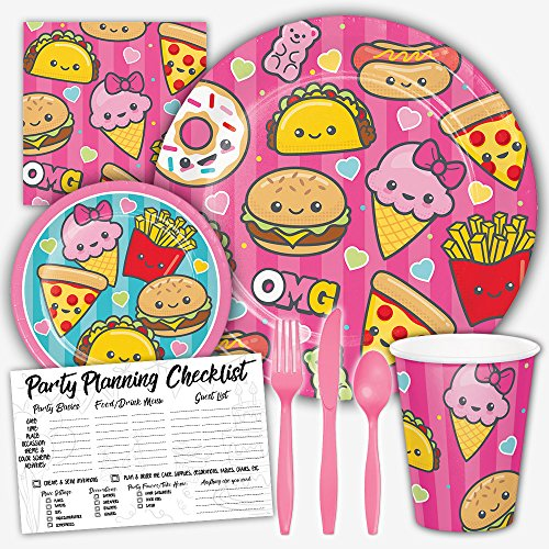 Junk Food Fun Foodie Birthday Theme Party Supply Set for Girls - Serves 8 Guests - Junk Food Girl
