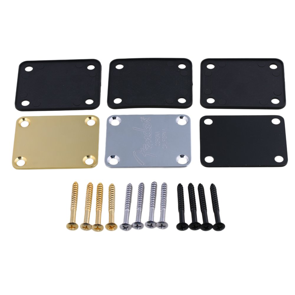 Yibuy 3 Colors Square Shape DIY Neck Plate & Screws for Electric Guitar etfshop Yibuy222