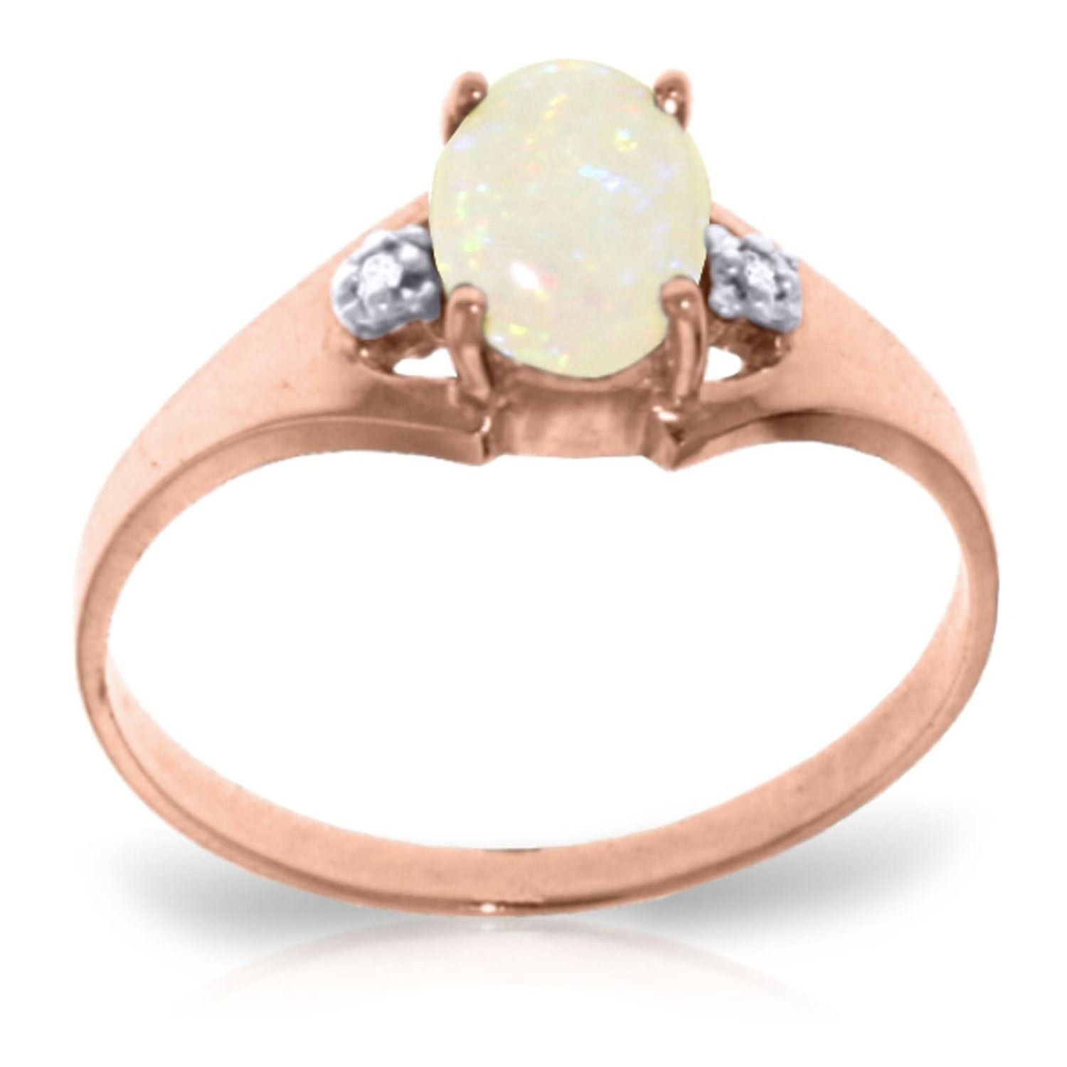 ALARRI 0.46 Carat 14K Solid Rose Gold Rings Natural Diamond Opal With Ring Size 11