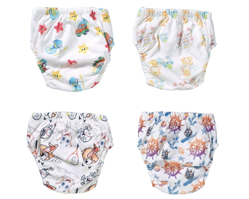 4 Stück schlichte Trainerhosen | unisex waschbare Trainingswindel | Lernwindel | Toilettentrainerhose | Baby Training Pants | Kinder Unterwäsche Unterhosen | Windelhose | Töpfchenhose