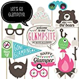 Our Let's Go Glamping photo prop kit will help you easily create fun party photos at your party. The photo booth prop kit comes with 20 pieces and is ready for quick assembly. Simply add the included wooden dowels to each prop, attaching with the inc...