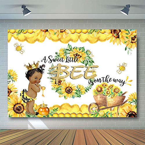 COMOPHOTO Sweet Bee Baby Shower Photography Backdrop A Little Bee Boy Baby Shower Photo Background 7x5ft Honey Bumble Bee Sunflower Baby Shower Party Banner Backdrops -