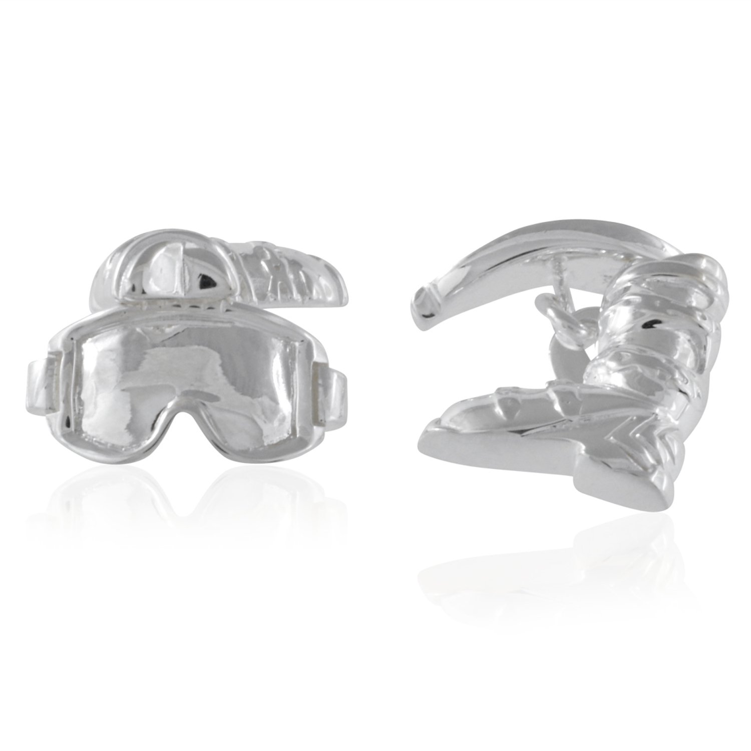Sterling Silver Ski Book and Mask Cufflinks