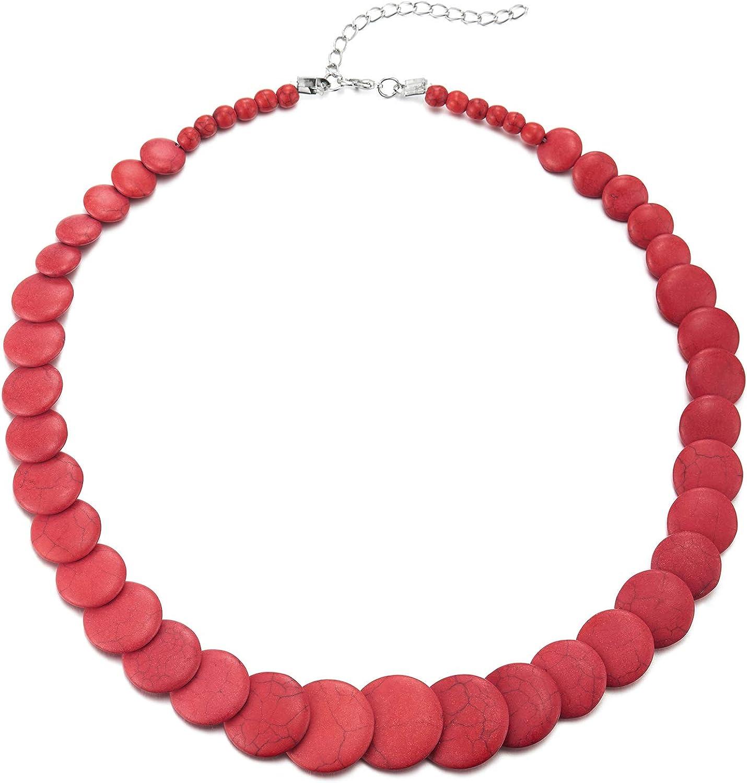 COOLSTEELANDBEYOND Rojo Círculo Disco Piedras Perla Cadena Colgante Gargantilla Choker Collar, Fiesta Vestir Banquetes
