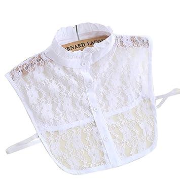 5558d4f1c93da9 Abnehmbare Kragen - LEORX floraler Spitze halb Shirt Bluse Ausschnitt für  Frauen (weiss)