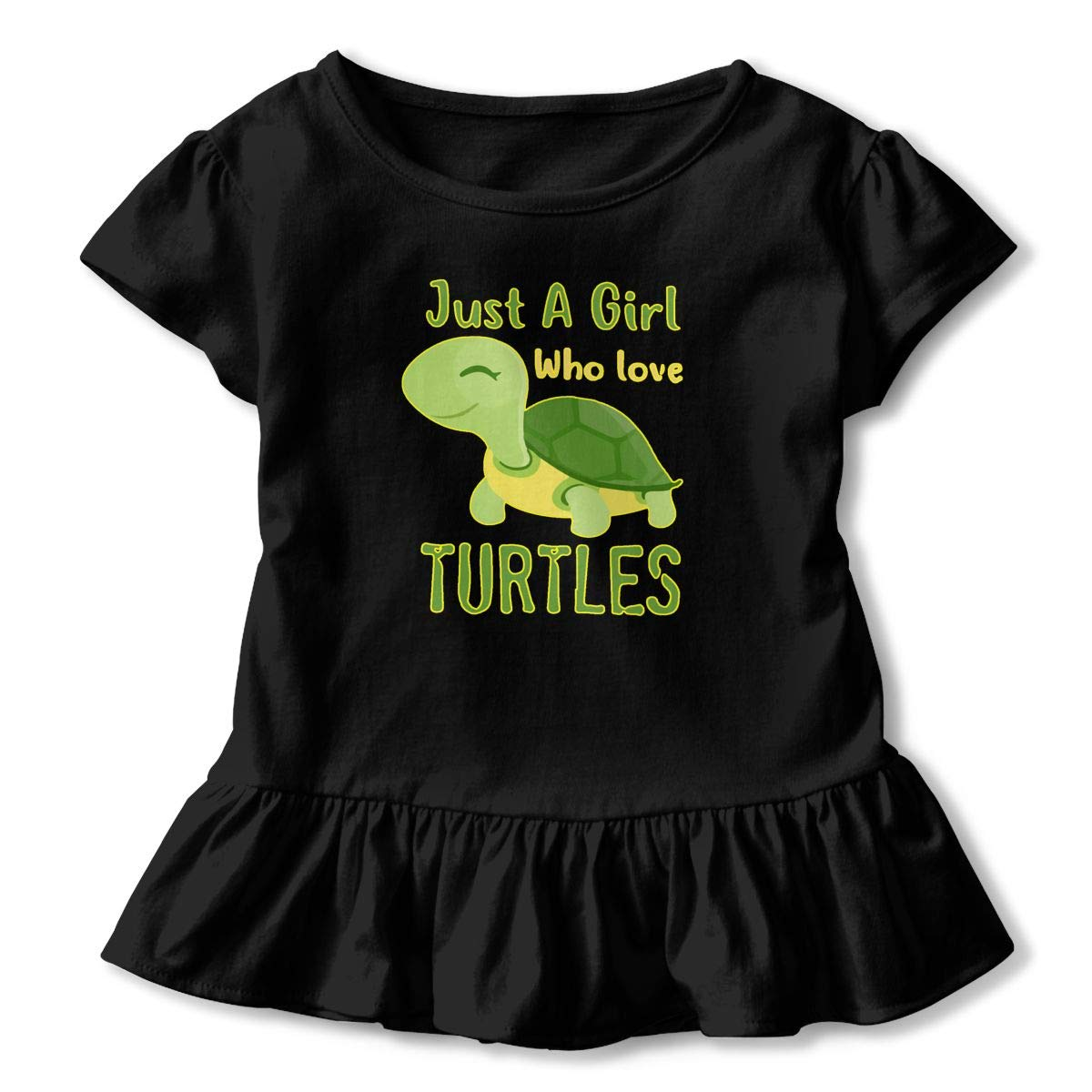 Just A Girl Who Loves Turtles Toddler Girls T Shirt Kids Cotton Short Sleeve Ruffle Tee
