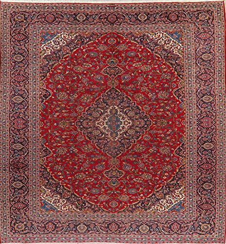 Persian Kashan Oriental Area Rug Wool Hand-Knotted Floral Carpet 10 X 13 Medallion