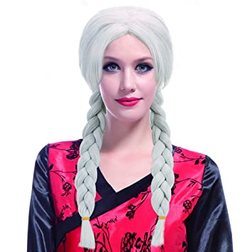 Womens Pigtails with Silver Hat Fancy Dress Wig Costume Cosplay Dress Up Party