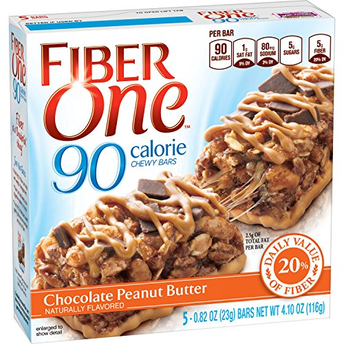 Fiber One Chewy Bar, 90 Calorie, Chocolate Peanut Butter, 5 Fiber Bars, 4.10 oz (Pack of 6) (One Oats Fiber)