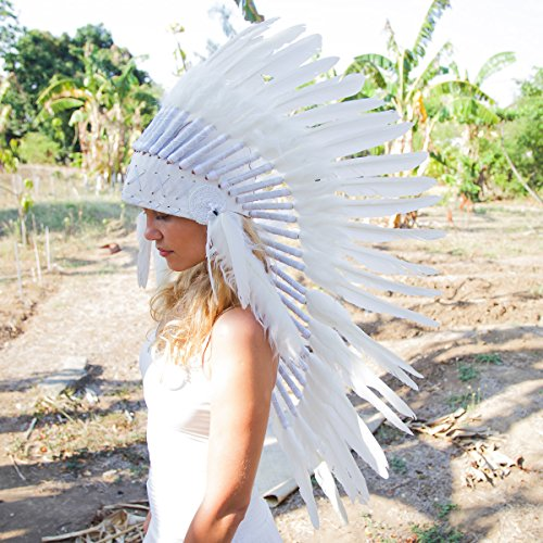 Novum Crafts Feather Headdress | Native American Indian Inspired | White