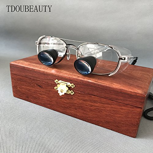TDOUBEAUTY Private Custom High-Grade Mahogany Box Embedded Magnifying Glass Titanium Alloy Frame Quartz Lenses High-End Grade by TDOUBEAUTY