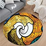 Nalahome Modern Flannel Microfiber Non-Slip Machine Washable Round Area Rug-Pop Art Style Funky Unusual Stained Glass Window Thai Art Pattern Traditional Image Multi area rugs Home Decor-Round 71''